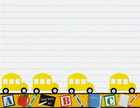 centimetres: A yellow school bus with a ruler making a border isolated on a lined paper background, School days Stock Photo