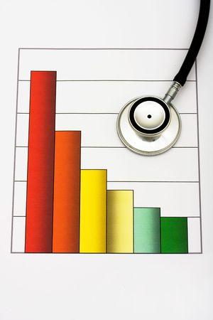 votaciones: Un gr�fico y un estetoscopio sobre un fondo blanco, aumentado las clasificaciones de cuidado de la salud