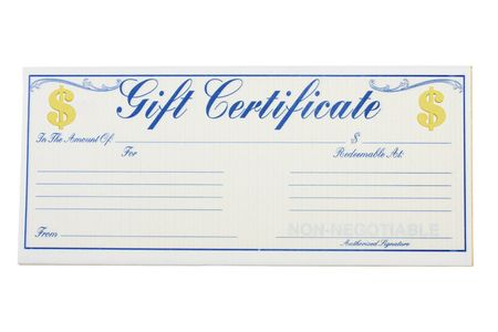 A gift certificate isolated on a white background, gift certificate