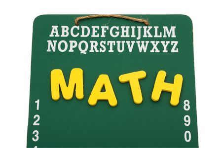 A green chalk board with the word math isolated on a white background, back to school Stock fotó