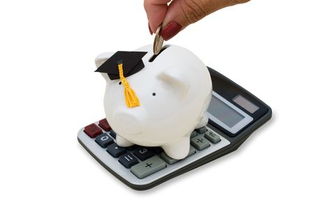 increased: A piggy bank wearing a graduation cap and calculator on a white background, increased education costs