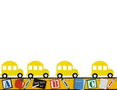 A yellow school bus with a ruler making a border isolated on a lined paper background, School days Imagens