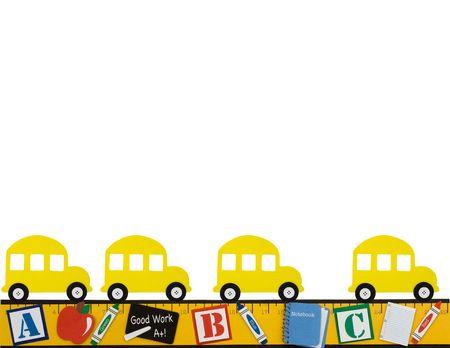 Een gele school bus met een liniaal om een grens geïsoleerd op een gelinieerd papier achtergrond, school dagen