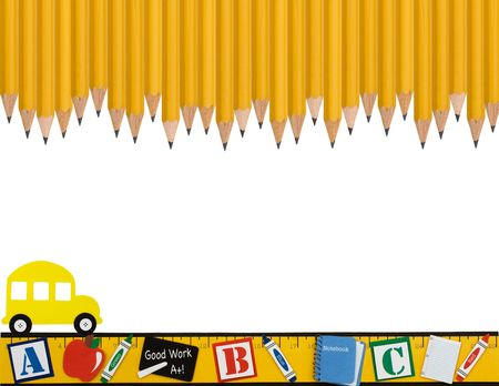 school border: A row of wooden pencils with a ruler and school bus isolated on a white background, School days