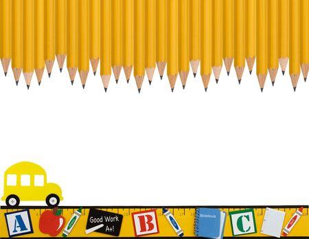 Een rij van houten pot loden met een liniaal en de school bus geïsoleerd tegen een witte achtergrond, school dagen Stockfoto