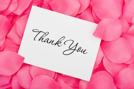dank u: Een vergadering op een petal achtergrond roze bloemen, dank u kaart hartelijk met liefde Stockfoto