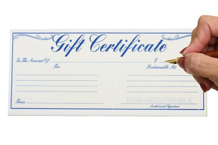 A gift certificate with a hand holding a pen isolated on a white background, gift certificate Stok Fotoğraf