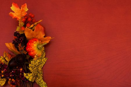 Fall coloured leaves making a border on a wooden background, Fall Leaves photo