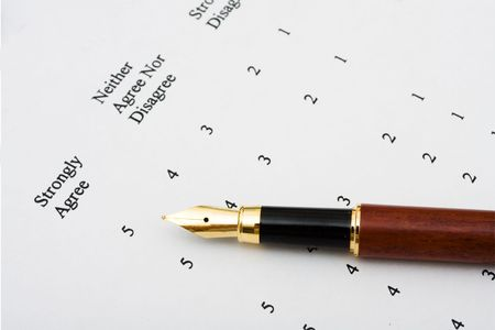 opinions: A survey sitting with a pen, excellent customer service