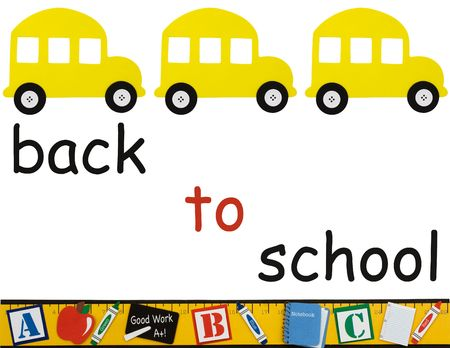 blue button: A yellow school bus with a ruler making a border isolated on a white background, School days Stock Photo