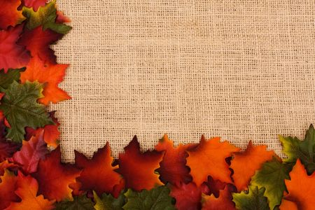 Fall leaves making a border on a burlap background, fall border photo