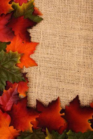 burlap sac: Fall leaves making a border on a burlap background, fall border