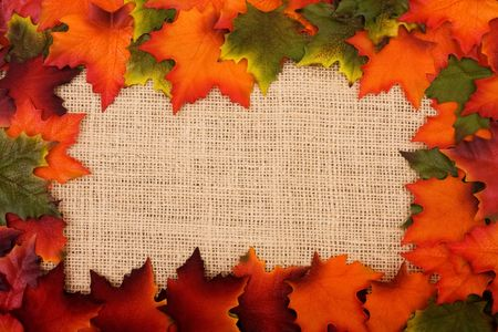 sackcloth: Fall leaves making a border on a burlap background, fall border