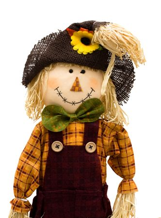 A scarecrow isolated on a white background, autumn scarecrow