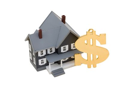 A model house with a dollar symbol on a white background, mortgage help