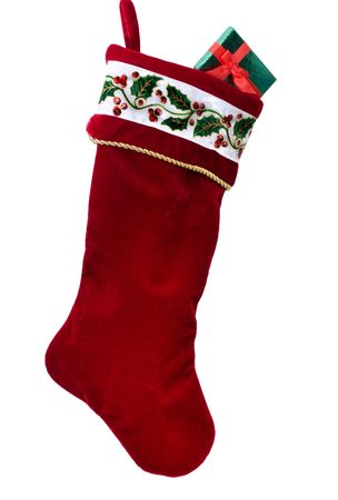 christmas sock: A Christmas stocking isolated on a white background, Christmas stocking