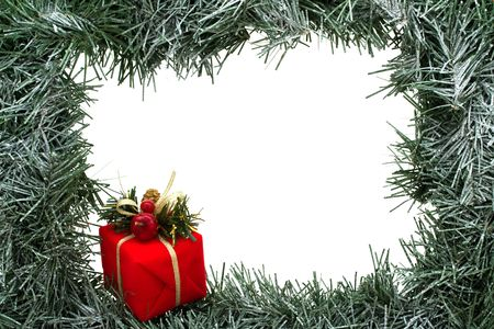 holidays: A green garland border isolated on a white background, garland border