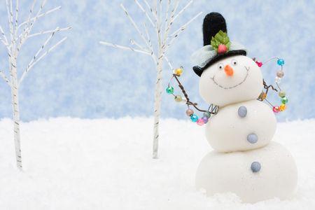 bonhomme de neige: Un bonhomme de neige sur un fond de Flocon de neige, bonhomme de neige