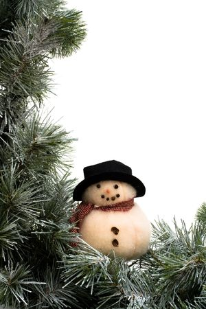 A green garland border with a snowman isolated on a white background, garland border photo