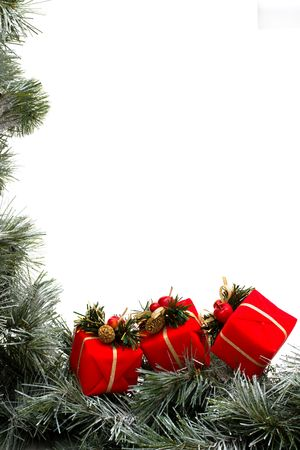 A green garland border with Christmas presents isolated on a white background, garland border Stock Photo - 5982893