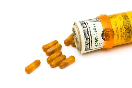 premiums: A pill bottle with money on a white background, medication costs