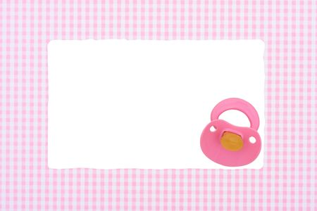 gingham: Baby pacifier on a pink border isolated on a white background, Baby Border