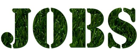 The word jobs spelled in green grass isolated on white background, green jobs