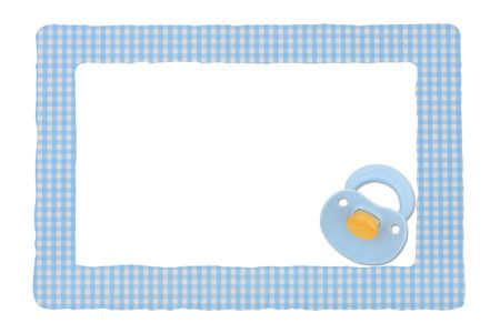 Baby pacifier on a blue border isolated on a white background, Baby Border photo