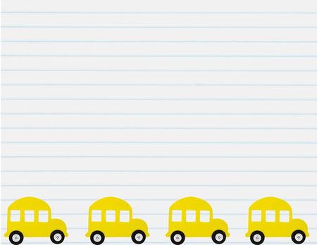 A school bus border with a lined paper background, School Bus
