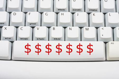 Dollar symbols in red on a computer keyboard, donate money online Stock Photo - 6290984