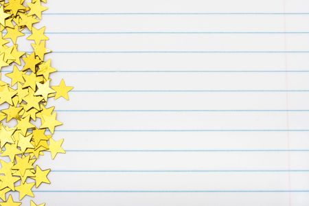 Gold Stars Making A Border On A Lined Paper Background Gold – Loose Leaf Paper Background