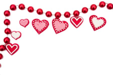 Red hearts on a white background, red hearts