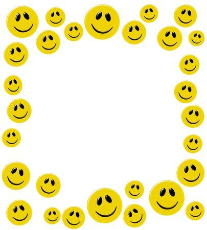 イエロー スマイリー顔の白い背景で隔離の多くの幸せな日
