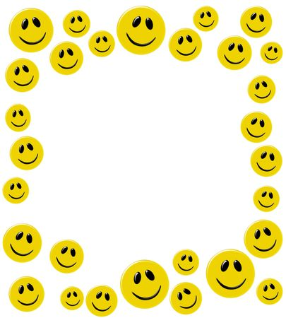 Lots of yellow smiley faces isolated on a white background, happy days