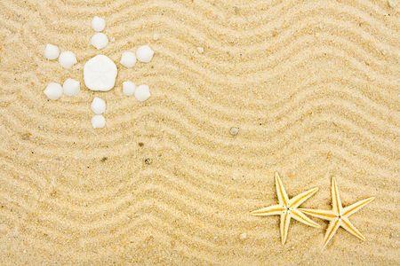 Schelpen in het maken van een vorm van de zon in het zand, zand en zon  Stockfoto