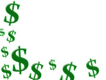 signos de pesos: S�mbolos de d�lar verde aislados sobre fondo blanco, ganar dinero