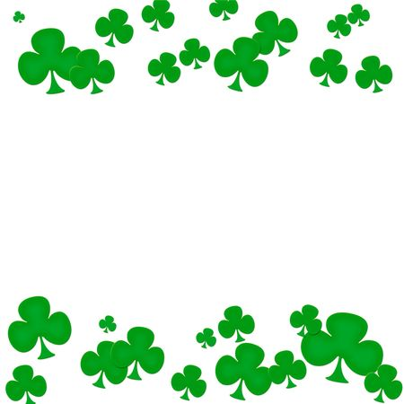 Green clovers making a border on a white background, green clover border photo