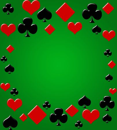 Four card suits making a border on a green background, poker background photo