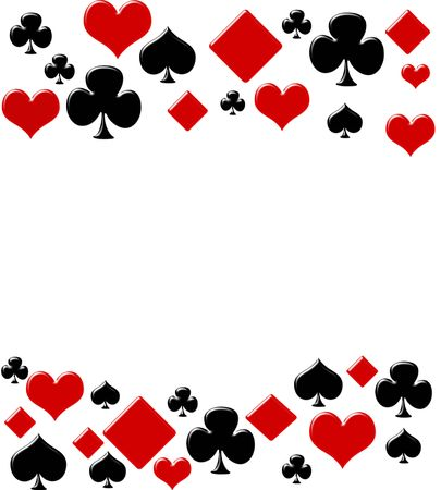 Four card suits making a border on a white background, poker background Stock fotó