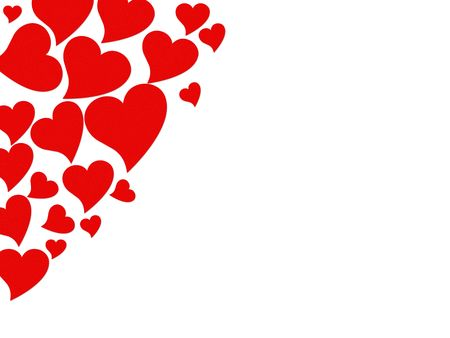 Red hearts on a white background, red hearts background Stock Photo - 6420280