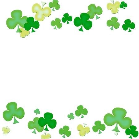 Green clovers making a border on a white background, green clover border Stock Photo - 6432101
