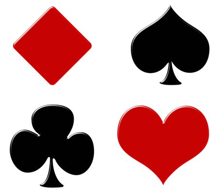 Four card suits on a white background, poker background Stok Fotoğraf