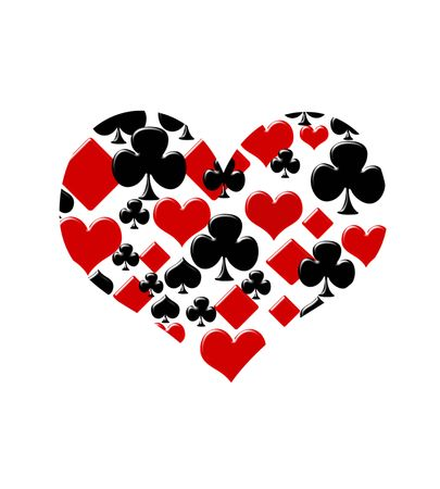Four card suits making a heart on a white background, Love to play cards