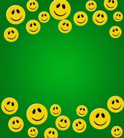 smiley: Lots of yellow smiley faces on a green background, happy border