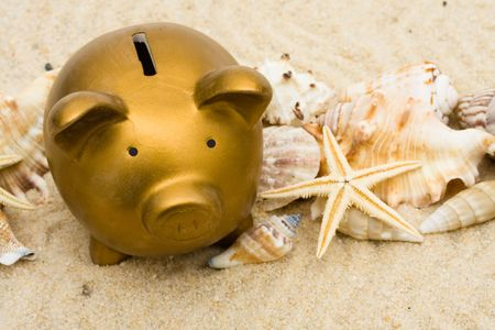 Lots seashells sitting with a gold piggy bank in the sand, vacation savings
