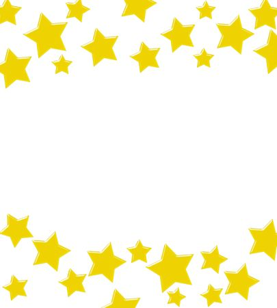Gold stars making a border on a white background, A winning gold star border Imagens