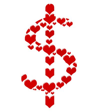 Red hearts making a dollar symbol on a white background, Loving money Stock Photo - 6459062