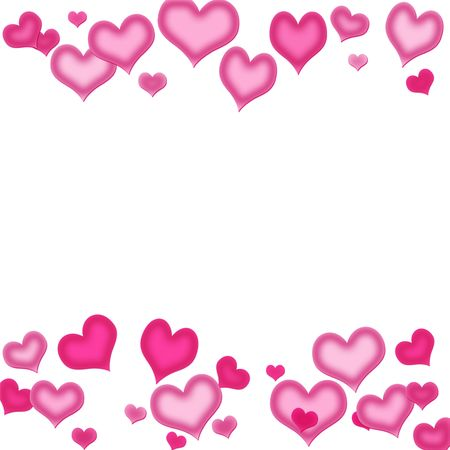 Pink hearts on a white background, heart background Banque d'images