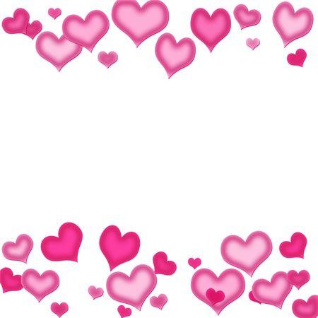 Pink Hearts on a white Background, Herz Hintergrund Standard-Bild - 6459065