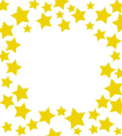 shiny gold: Gold stars making a border on a white background, winning gold star border